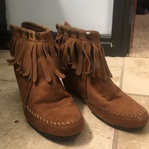 Fringed heeled booties